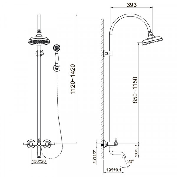 Душевая система для ванны с изливом Imprese Podzima Zrala ZMK02170809