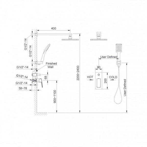 Душевая система скрытого монтажа Imprese Grafiky ZMK041807110