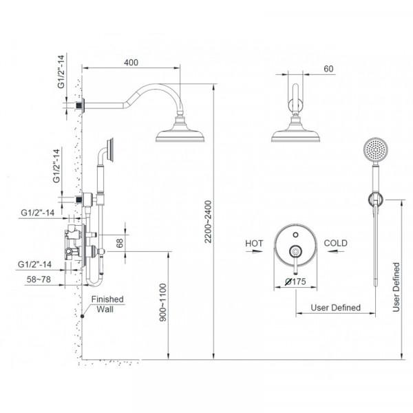 Душевая система скрытого монтажа Imprese Hydrant ZMK031806110
