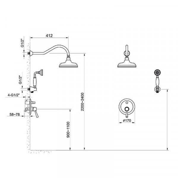 Душевая система скрытого монтажа Imprese Podzima Zrala ZMK02170811