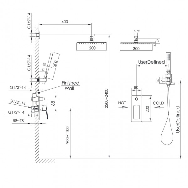 Душевая система скрытого монтажа Imprese Grafiky ZMK061901110