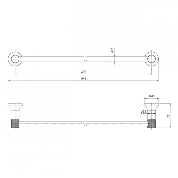 Полотенцедержатель 60 см, граф.хром Imprese Brenta ZMK091908270