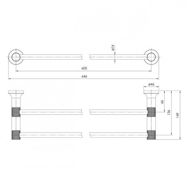 Полотенцедержатель 60 см, двойной граф.хром Imprese Brenta ZMK091908290