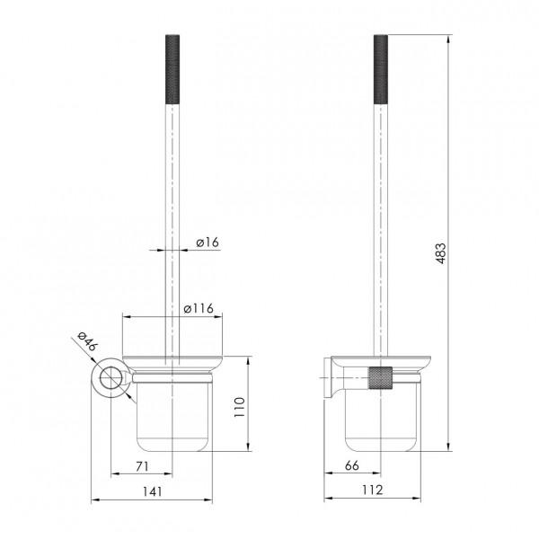 Настенный ёршик для унитаза, граф.хром Imprese Brenta ZMK091908260