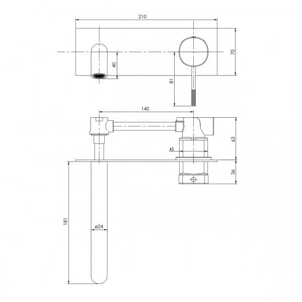 Смеситель для умывальника скрытого монтажа, граф.хром Imprese Brenta ZMK091908030
