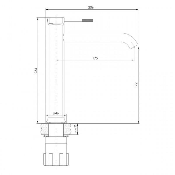 Высокий смеситель для умывальника Imprese Brenta ZMK071901011
