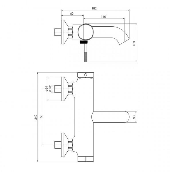 Смеситель для ванны, граф.хром IMPRESE Brenta ZMK091908040