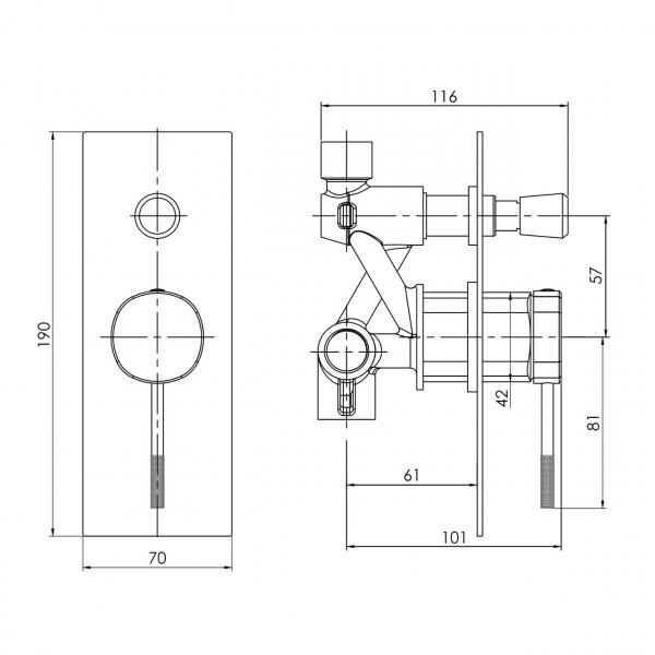 Смеситель для ванны скрытого монтажа, граф.хром Imprese Brenta ZMK091908041