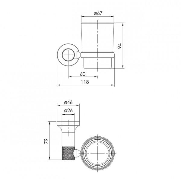 Настенный стакан для зубных щеток, граф.хром Imprese Brenta ZMK091908230