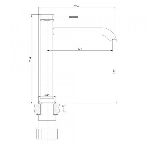 Высокий смеситель для умывальника, граф.хром Imprese Brenta ZMK091908011