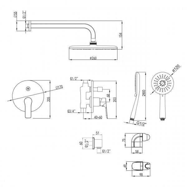 Душевая система Imprese Kucera VR-50105