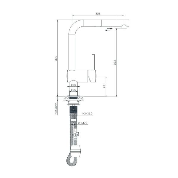 Кухонный смеситель с выдвижным изливом Imprese Podzima Lotta 55403-SS