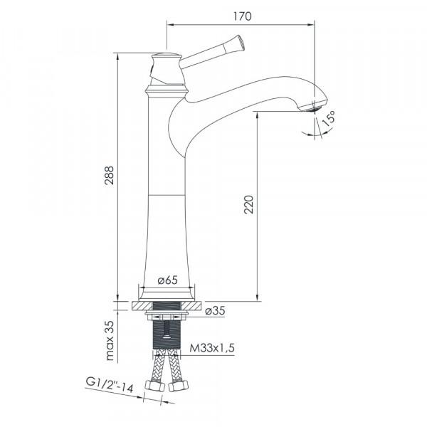 Высокий смеситель для раковины Imprese Podzima Ledove ZMK011701011