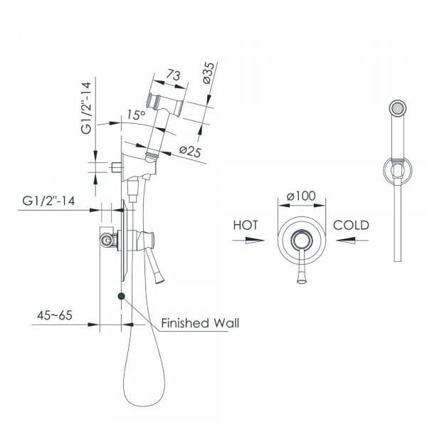 Смеситель скрытого монтажа с гигиеническим душем Imprese Podzima Zrala ZMK02170812