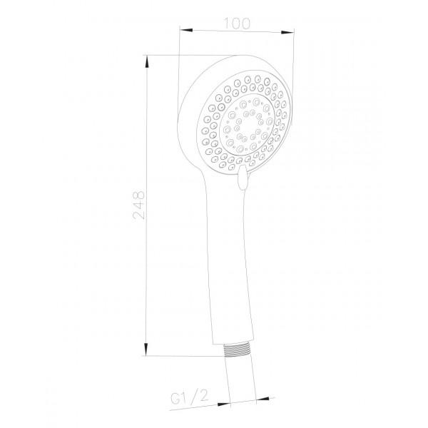 Ручной душ, 1 режим Imprese W100R1