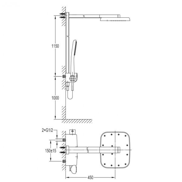 Душевая система с термостатом Imprese Smart Click ZMK101901090
