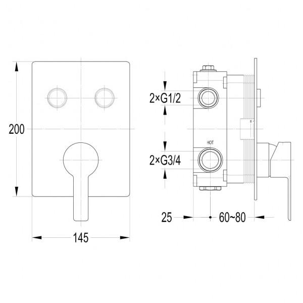Смеситель для душа скрытого монтажа Imprese Smart Click ZMK101901201