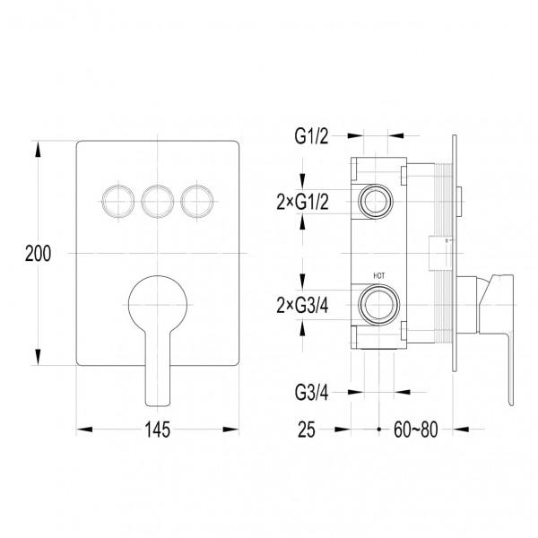 Смеситель для душа скрытого монтажа Imprese Smart Click ZMK101901202