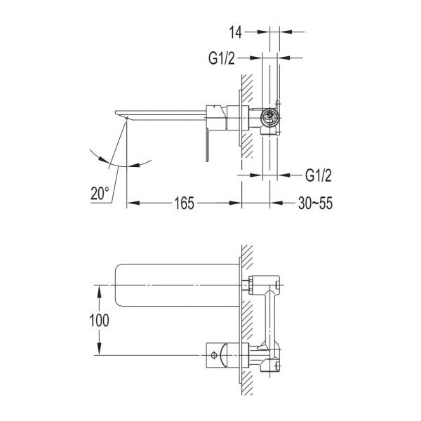 Смеситель для раковины скрытого монтажа Imprese Smart Click ZMK101901030