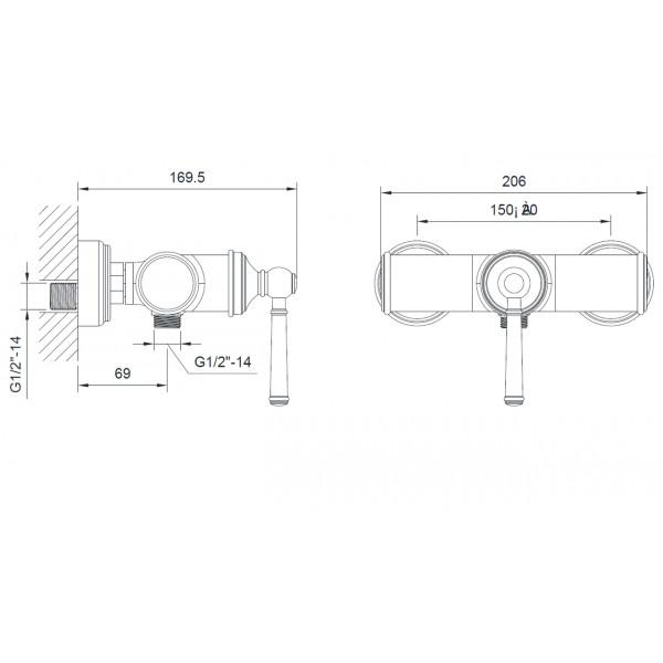 Смеситель для душа Imprese Hydrant ZMK031806080