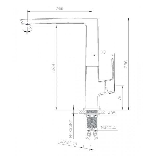 Смеситель для кухни Imprese Grafiky ZMK041807150