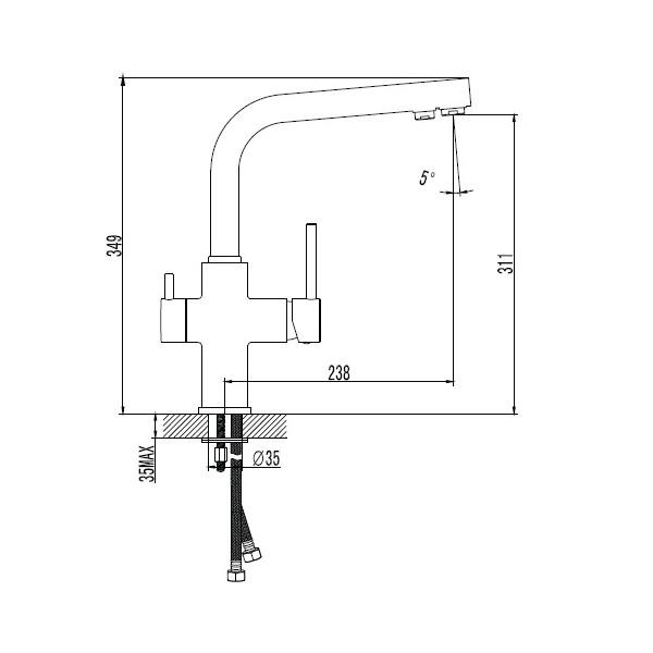 Смеситель для кухни с подключением питьевой воды Imprese Daicy 55009B-F