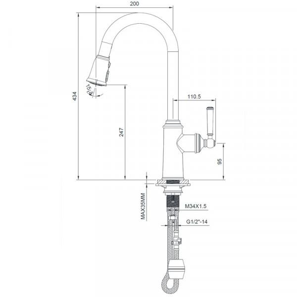 Смеситель для кухни с выдвижной лейкой 50, сталь Imprese Hydrant ZMK031806150