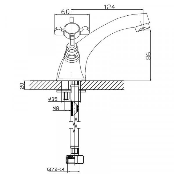 Смеситель для раковины двухвентильный Imprese Cuthna 05280 ANTIQUA-N
