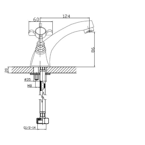 Смеситель для раковины двухвентильный Imprese Cuthna 05280 ZLATO