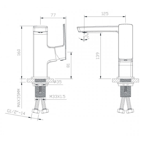 Смеситель для раковины ручка сбоку Imprese Grafiky ZMK041807012