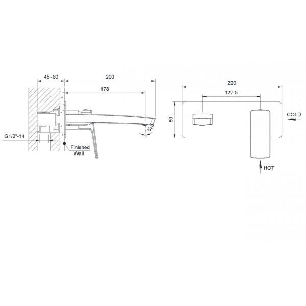 Смеситель для раковины скрытый монтаж Imprese Grafiky ZMK041807030