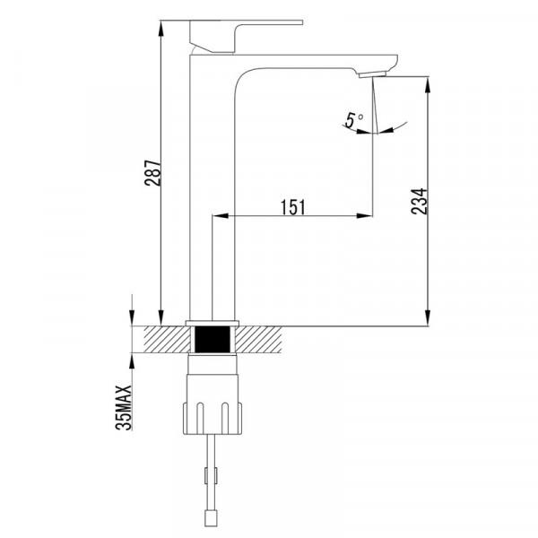 Смеситель для раковины высокий Imprese Bilovec 05255-H