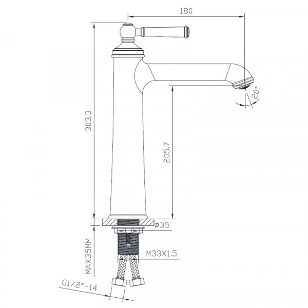 Смеситель для раковины высокий Imprese Hydrant ZMK031806011