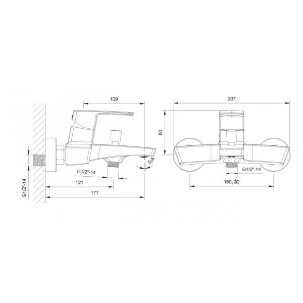 Смеситель для ванны Imprese Grafiky ZMK041807040