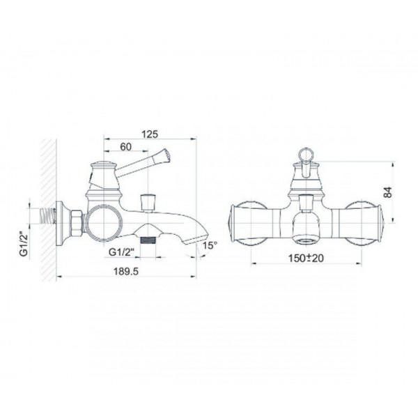 Смеситель для ванны Imprese Podzima Zrala ZMK02170804