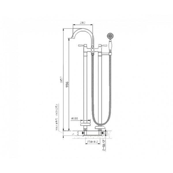 Смеситель напольный для ванны Imprese Podzima Zrala ZMK01170106