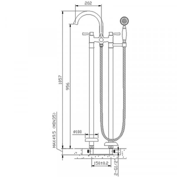 Смеситель напольный для ванны Imprese Podzima Zrala ZMK02170806