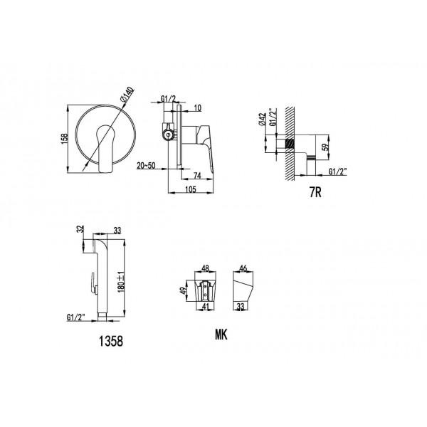 Смеситель скрытого монтажа с гигиеническим душем Imprese Kucera VR30105Z-BT