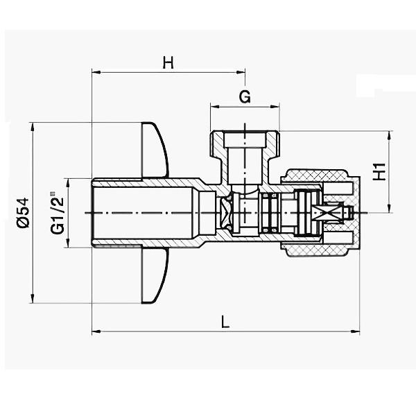 Угловой вентиль 1/2 Imprese AV01