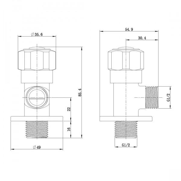 Угловой вентиль четверть оборота 1/2 Imprese AV02