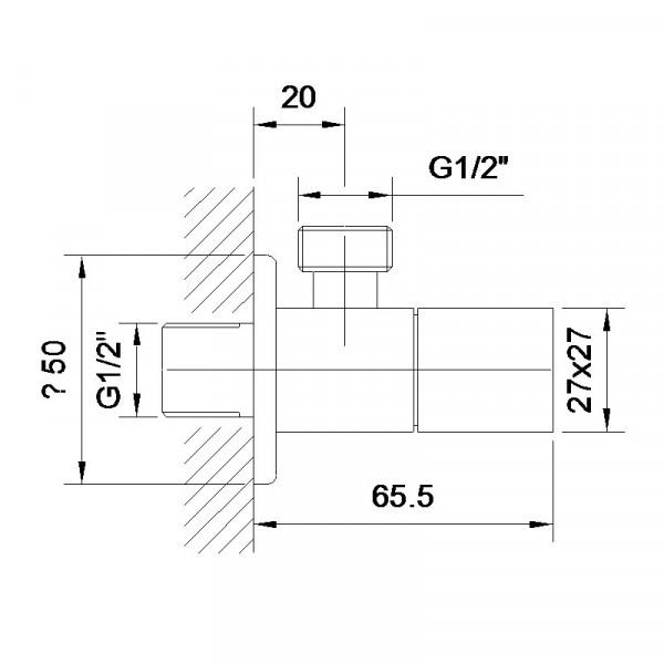 Угловой вентиль четверть оборота 1/2 Imprese Grafiky ZMK041807001