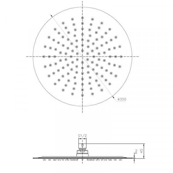 Верхний душ Imprese S300SS2