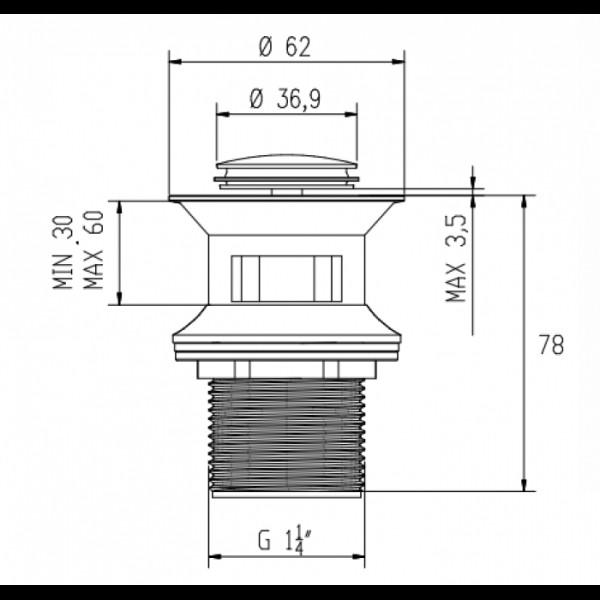 Донный клапан Click-Clack Invena SC-B1-027