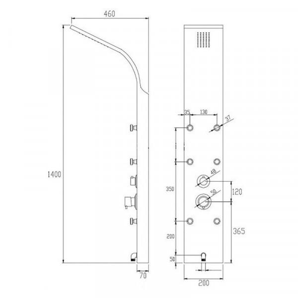 Душевая панель для гидромассажа Invena Mauritus AK-60-011