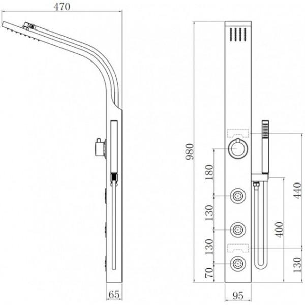 Душевая панель для гидромассажа Invena Peleus AK-61-002