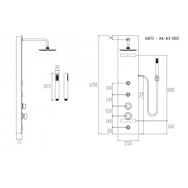 Душевая панель для гидромассажа Invena Mite AK-63-002