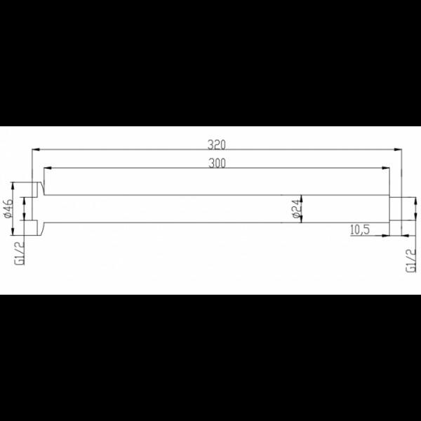 Душевой кронштейн потолочный 30 см Invena SC-P1-030