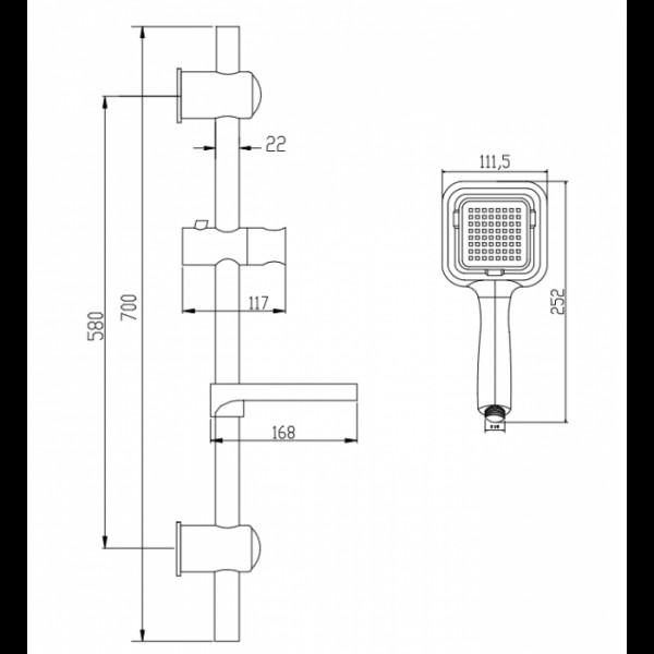 Душевой набор со штангой и мыльнице Invena Islay AU-88-001
