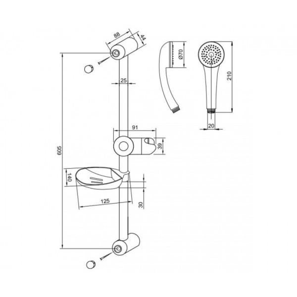 Душевой набор со штангой и мыльницей Invena Tetis AU-44-001