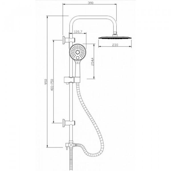 Душевой гарнитур с верхним душем Invena Kameleon AU-26-004